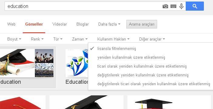 Google'da Lisanslı Görsel Arama
